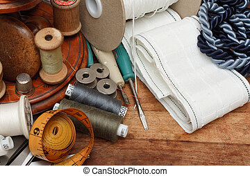 Sewing tools - Soft Furnishing equipment on table
