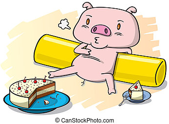 pig and the cake - vector illustrator of pig eat the cake,...