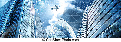 Business futuristic skyscraper banner with programm code