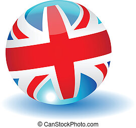 United Kingdom flag globe.Vector