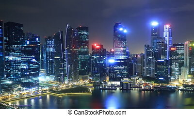 Time Lapse Singapore Skyline at Night View to Financial...