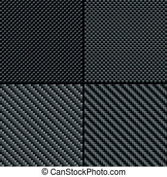 Carbon fiber seamless patterns set - Set of four carbon...