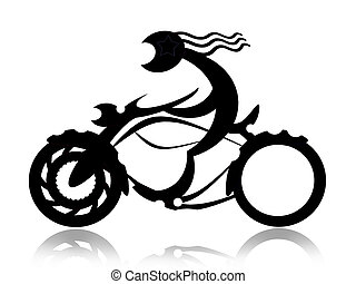 Biker on motorcycle - Speed riding biker on motorcycle black...