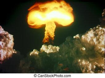 Hongo, nube, después, nuclear, explosión
