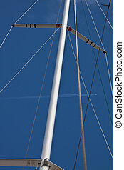 main mast of racing ship - main mast of a racing ship with...