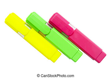 Three highlighters isolated on the white background