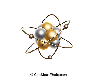 golden atom structure isolated on white background