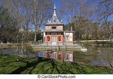 Glorieta de Sevilla in the Buen Retiro Park Madrid, Spain.