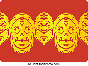 border ornamental paper cut with faces