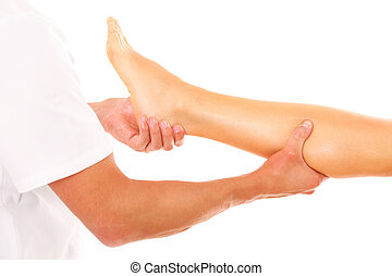 Leg massage - A picture of a physio therapist giving a leg...