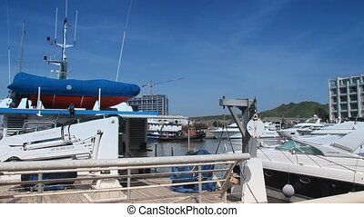 Yachts moored in the marina - Private yachts moored in the...