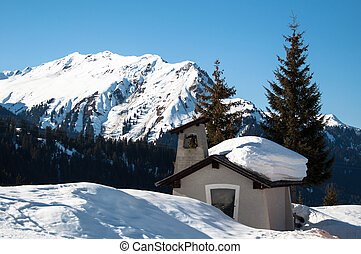 small chapel in skiing resort