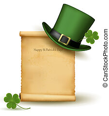Saint Patrick Day card with clover leaf and green hat Vector...