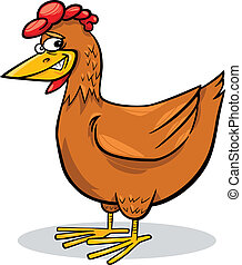 cartoon chicken - cartoon humorous illustration of funny...