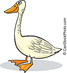 cartoon goose - cartoon humorous illustration of funny farm...