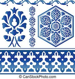 Some Islamic design elements - Vector of blue Islamic design...