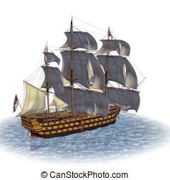 Sailing Ship of Royal Navy - HMS Victory style tail sailing...