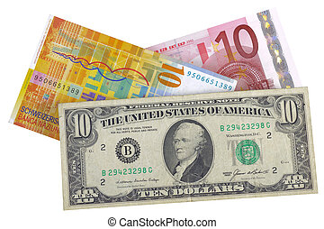euro, dollar, franc, currency
