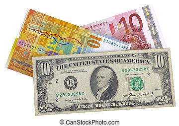 Euro, moeda corrente, dólar, franco