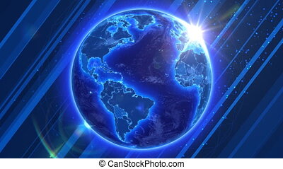 Spinning Earth Global Business and - Beautiful Blue Earth...
