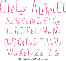 Girly alphabet - Pink girly alphabet