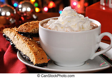 Cappuccino on Christmas Eve - A cup of cappuccino or hot...