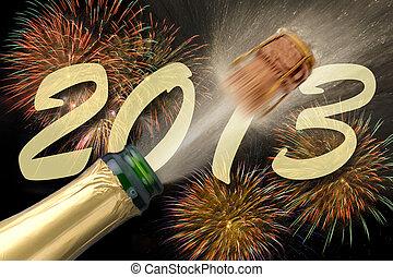 fuego artificial,  2013, año, nuevo, champaña, el hacer estallar