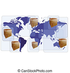World map with boxes