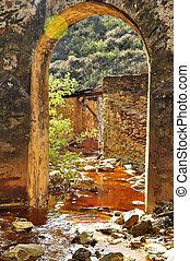 Old bridge, acid mine drainage