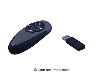 Remote presentation controller and sticks on isolated...