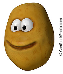 potato face - funny potato with cartoon face - 3d...