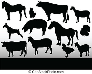 farm animals - animals on black and white background
