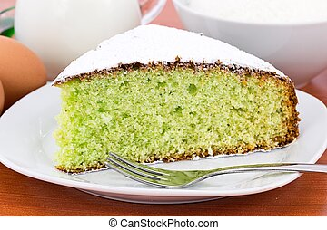 slice of coconut cake and mint - soft and delicious cake...