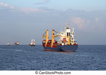 Cargo ship sailing the sea