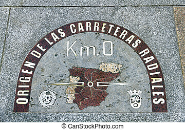 kilometre zero point in Puerta del Sol, Madrid, Spain -...