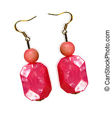 Earrings made of plastic and glass pink