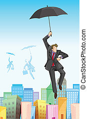 Businessman flying on Umbrella