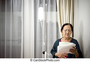 elderly woman patient treatment at the hospital