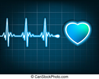 Heart cardiogram with shadow on deep blue. EPS 8