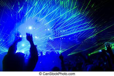 laser, concerto, mostrar