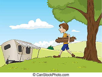 Gathering Firewood - Cartoon style illustration of a man...
