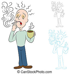 Sick From Coffee and Cigarettes - An image of a man sick...