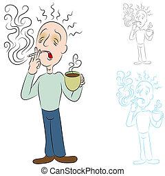 chory, z, kawa, papierosy