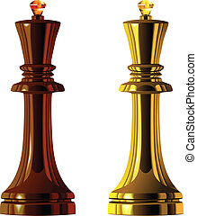 vector of the chess pieces, black and white king - Black and...