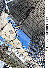 Detail of the Grand Arch at La Defense district in Paris.