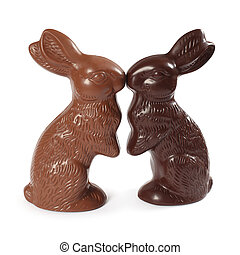 Chocolate Easter bunnies kissing - Photo of two chocolate...