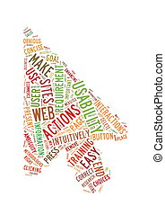 Web Usability word cloud arrow shape - Word Cloud...