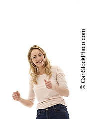 Full Of Enthusiaism - Young enthusiastic blonde woman with...