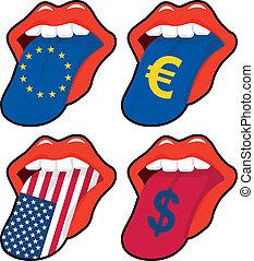 mouth euro dollar