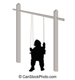 baby on a swing silhouette